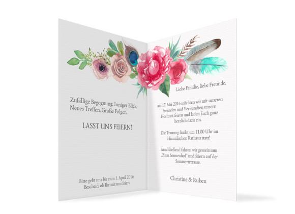 Einladungskarten zur Hochzeit Boho, Innenansicht der Farbversion: anthrazit