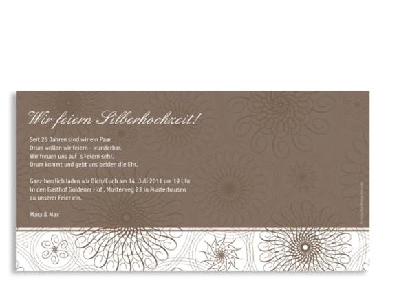 Rückseite, Einladungs-Postkarte zur Silberhochzeit, Motiv Mandala, Farbversion: beige
