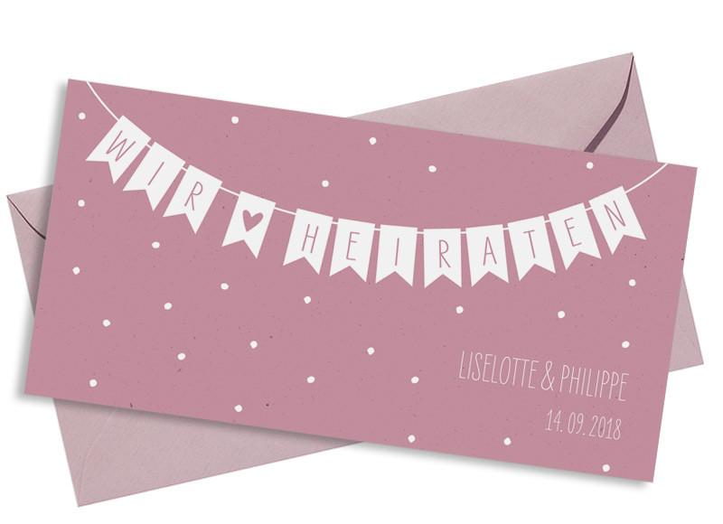 ... Einladung Zur Hochzeit Wimpelkette (Postkarte DL) In Altrosa Mit  Umschlag