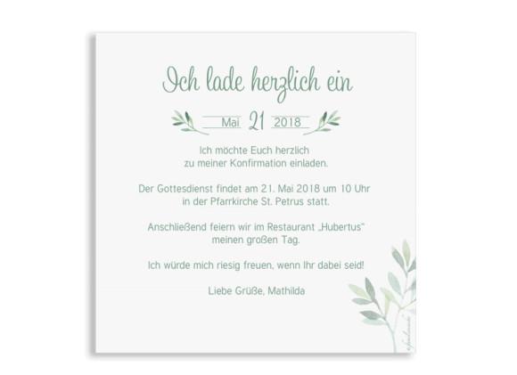 Einladung zur Konfirmation, Motiv: Blätterkranz, Rückseite, Farbvariante: Grün