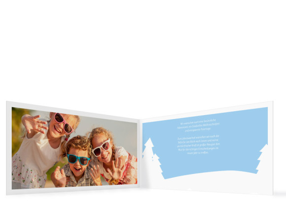 Weihnachtskarte Stille Nacht, Innenansicht in der Farbversion: hellblau-grau