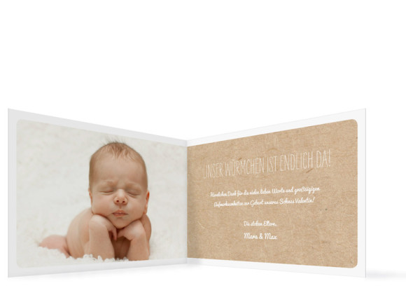 Geburtskarten Valerie/Valentin, Innenansicht der Farbverison: blau
