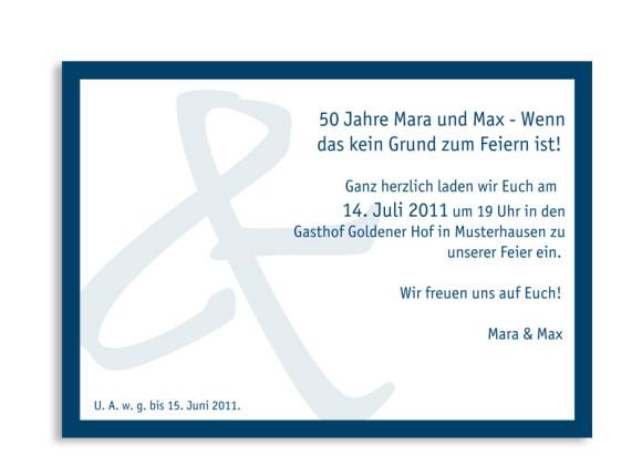 Rückseite, Einladungs-Postkarte zur Goldenen Hochzeit, Motiv Bern, Farbversion: blau
