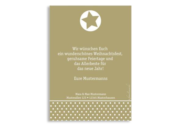 Weihnachtspostkarte, Motiv LoopyChristmas, Rückseite, Farbversion: beige