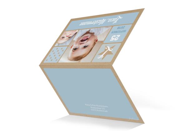 Karten zur Geburt (Klappkarte, Kraftpapier), Motiv: Lucia/Luca natural (Kraftpapier), Aussenansicht, Farbvariante: hellblau