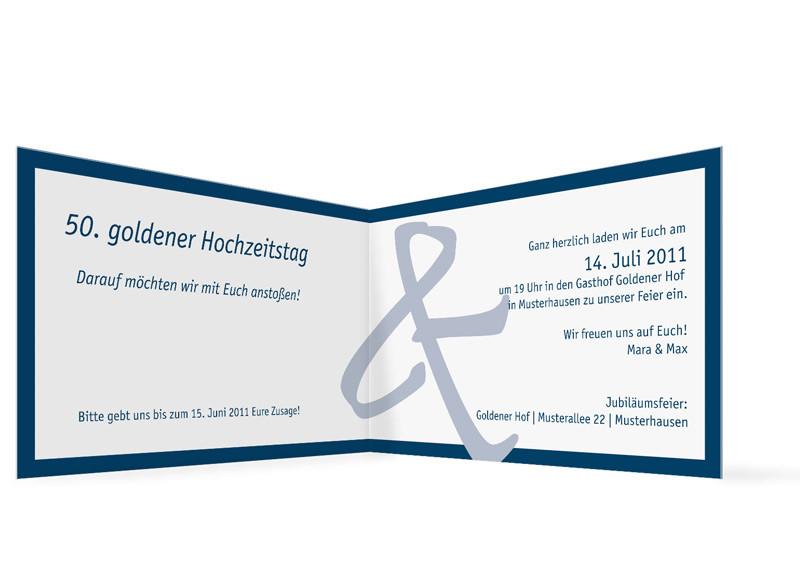 ... Innenansicht, Einladung Zur Goldenen Hochzeit, Motiv Bern, Farbversion:  Blau ...