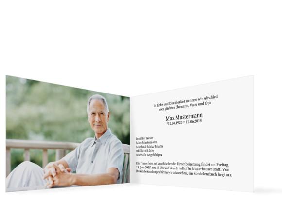 Trauerkarten Fotoerinnerung, Innenansicht der Farbversion: weiß