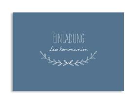 """Einladung zur Kommunion """"Zweig"""" (Postkarte) dunkelblau"""