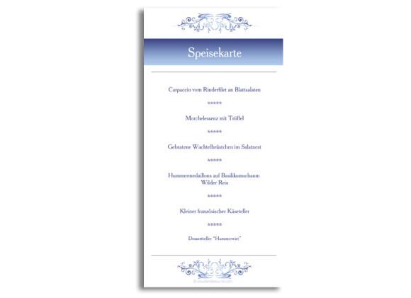 Rückseite, Menükarte zur Hochzeit (DIN Lang-Karte, zweiseitig), Motiv Mailand, Farbversion: blau
