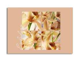 Einladung Orchideen (Postkarte) Beige
