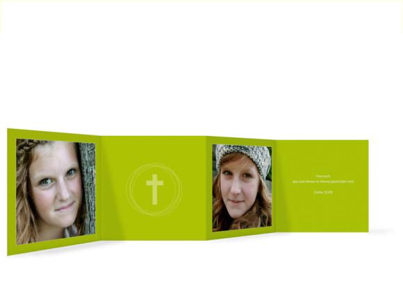 Innenansicht, Danksagungs-Leporello zur Konfirmation, Motiv Justus/Jasmin, Farbversion: grün/weiß