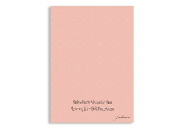Save the Date-Karte Sweet Polka, Rückseite in apricot
