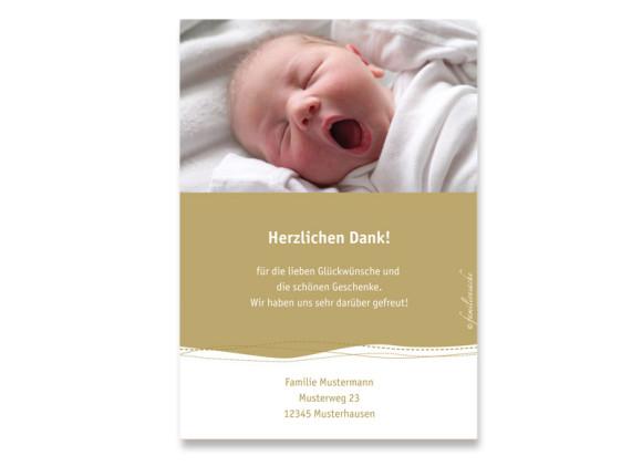 Rückseite, Postkarte zur Geburt, Motiv Deborah/Darius, Farbversion: beige