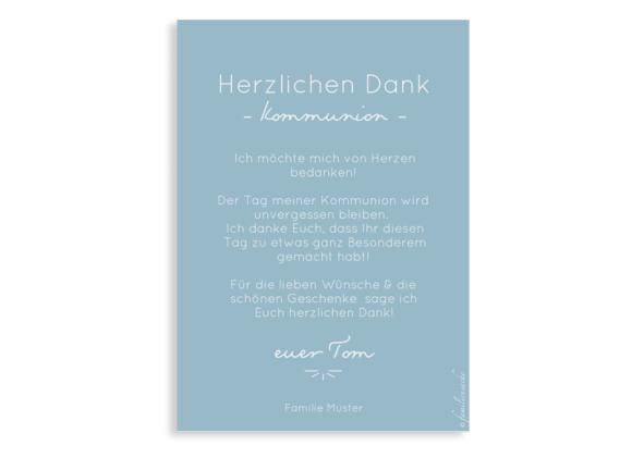 Danksagung Kommunion als Postkarte A6 hoch, Motiv: Blickfang, Rückseite, Farbvariante: hellblau
