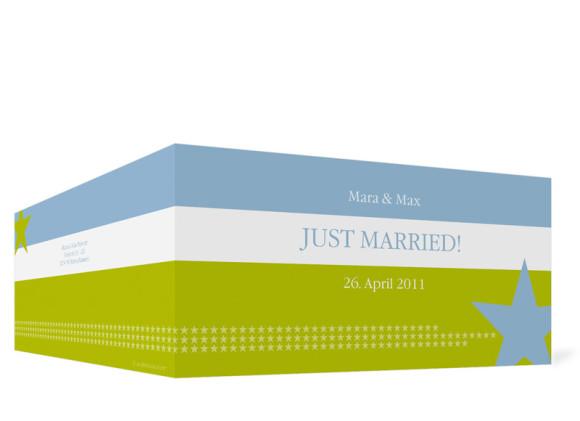 Aussenansicht, Danksagungs-Klappkarte zur Hochzeit (Format DIN Lang), Motiv New York, Farbversion: blau-grün