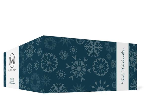 Außenansicht, Firmen-Weihnachtskarte mit Firmenlogo, Farbversion: blau