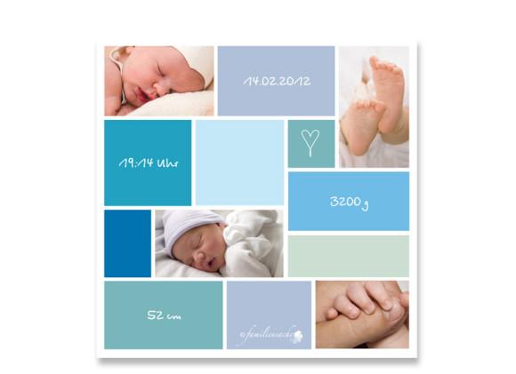 Rückseite, Postkarte zur Geburt, Motiv Ramona/Ramon, Farbversion: blau