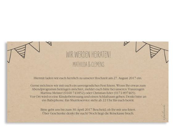 Einladungskarten zur Hochzeit Timeline Cute, Rückseite in Dunkelgrau
