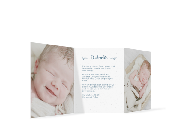 Babykarte (Leporello A6, drei Fotos), Motiv: Henriette/Henry, Rückseite, Farbvariante: dunkelblau