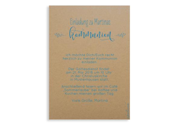 Kommunionseinladung (Postkarte ohne Foto), Motiv: Blumenkranz Natural, Rückseite, Farbvariante: blau