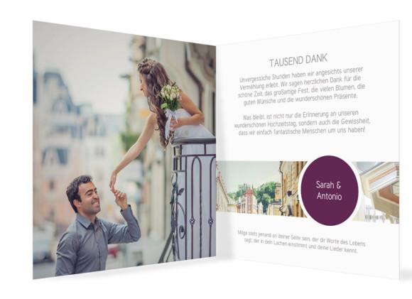 Hochzeit Danksagungskarten Circle, Innenansicht in Brombeer