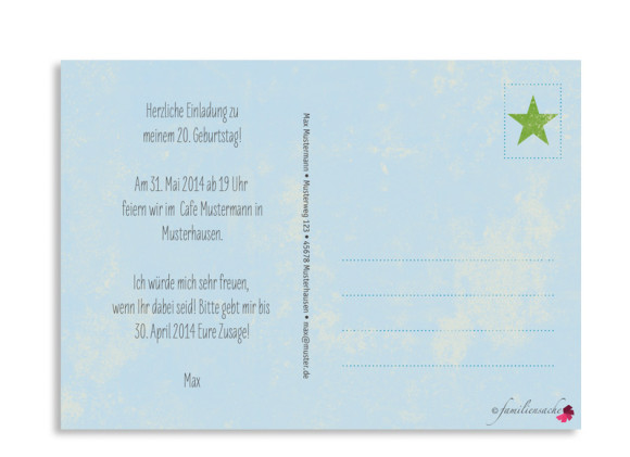 Rückseite, Einladung zum 20., Motiv Vintage Star, Farbversion: blau/grün