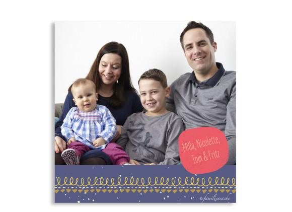 Weihnachtskarte Mistelzweig mit Bild, Rückseite in lavendel