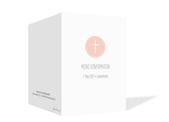 Einladung zur Konfirmation Motiv Pure Cross, Außenansicht, Farbversion: apricot