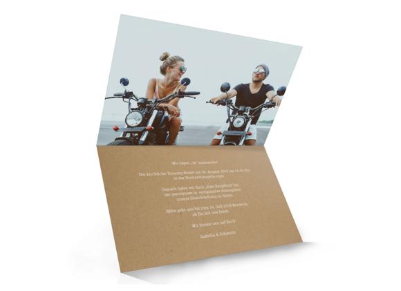 Einladungskarte Hochzeit (Klappkarte A6, mit Foto), Motiv: Gent Natural, Innenansicht, Farbvariante: weiss