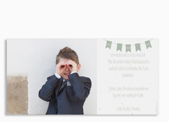 Danksagung zur Kommunion, Motiv: Wimpelkette, Rückseite, Farbvariante: Grün