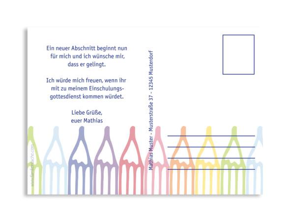 Rückseite, Einschulungskarte, Motiv Stifte, Farbversion: blau