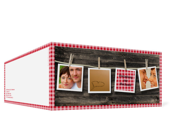 Außenansicht, Klappkarte zur Hochzeit (Format DIN Lang), Motiv Alpenglühen, Farbversion: rot
