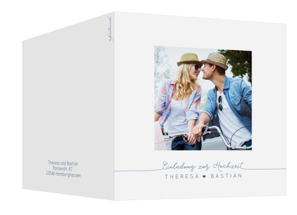 quad. Klappkarte zur Hochzeit mit einem Foto, Motiv: Warschau E, Aussenansicht, Farbvariante: dunkelblau
