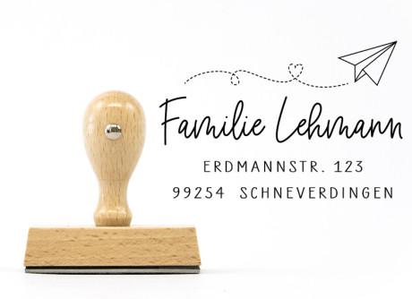 """Familienstempel """"Schneverdingen"""" (personalisierter Holzstempel), ca. 55 x 40 mm"""