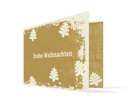 Weihnachtskarte Tannen (Klappkarte C6) Creme