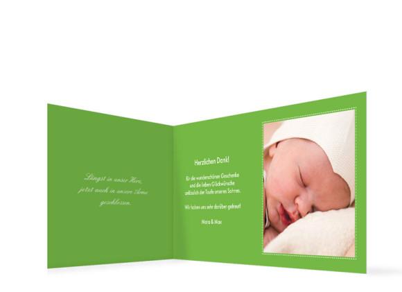 Innenansicht, Taufdanksagung Simone/Simon, Farbversion: grün