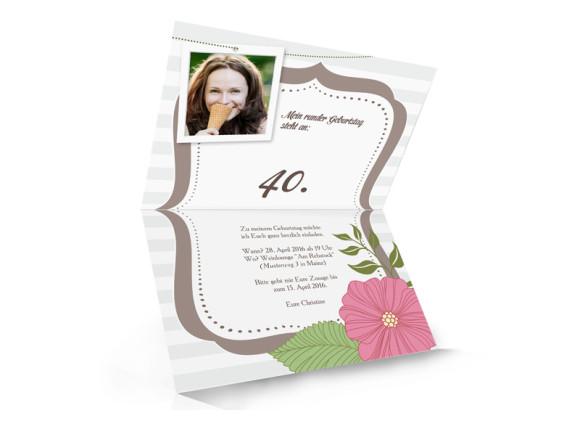 Einladungen zum Geburtstag Honolulu, Innenansicht der Farbversion: braun