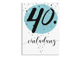 Einladung Zum 40. Geburtstag Konfetti Aqua