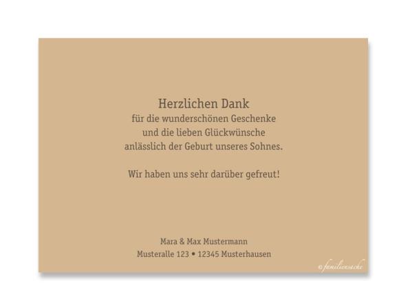Rückseite, Postkarte zur Geburt, Motiv Jette/Jannik, Farbversion: braun