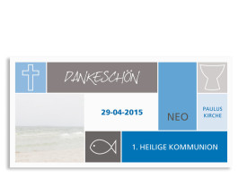 Kommunionsdanksagungen Nora/Neo (Postkarte) Blau