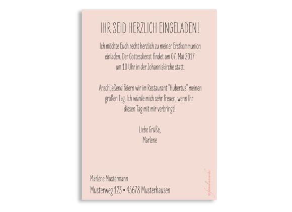 Kommunion Einladungen, Motiv Lucky Stripes, Postkarte A6, Rückseite, Farbversion: apricot