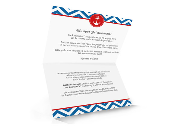 Hochzeitseinladungen Hamptons Anchor, Innenansicht der Farbversion: blau/rot