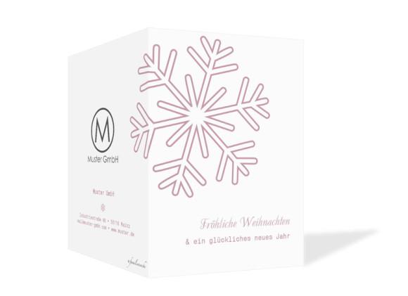 Firmen-Weihnachtskarten Eiskristall, Außenansicht der Farbversion: rosé