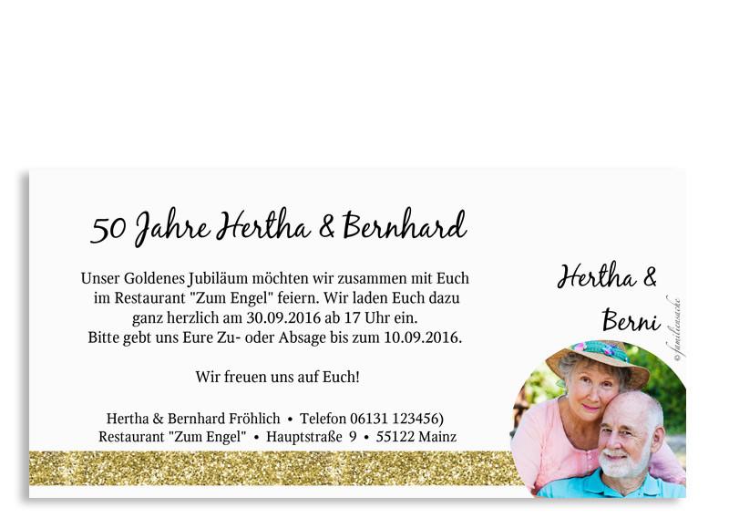 Einladungskarten Zur Goldhochzeit Gold · Einladungskarten Zur Goldhochzeit,  Rückseite In Goldanmutung