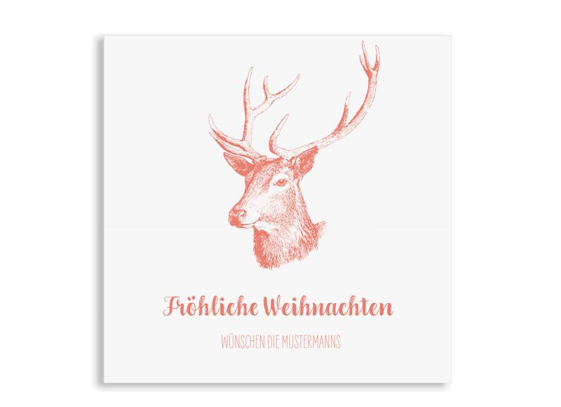 Weihnachtsgrüße Postkarte.Weihnachtsgrüße Pure Deer Quadratische Postkarte Mit 3 Fotos