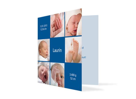 Geburtskarte Luise/Laurin (Klappkarte, quadratisch)