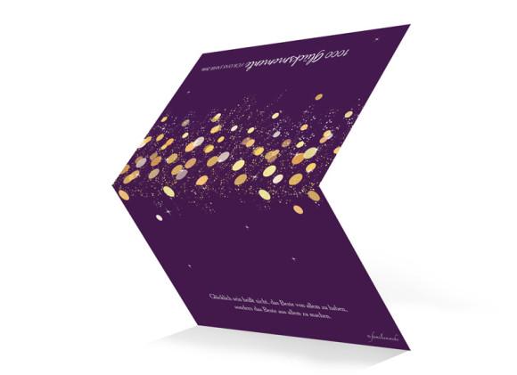 Grußkarte zu Neujahr Schillernd, Außenansicht der Farbversion: brombeer