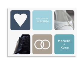 Save the Date-Karte Kreta zur Hochzeit Dunkelblau