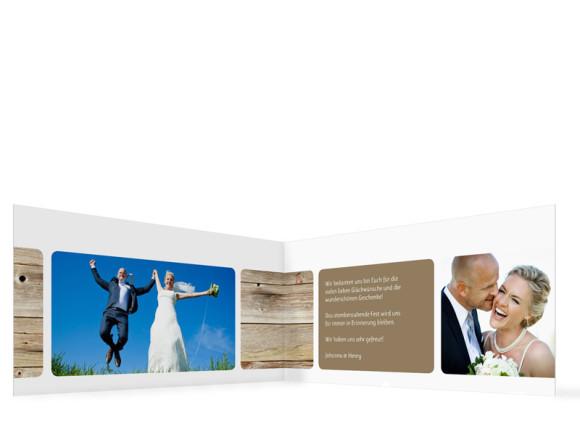 Innenansicht, Dankeskarte Zürich zur Hochzeit, Farbversion: schlamm