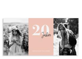 """Einladungskarten 20. Geburtstag """"Zeitreise"""" apricot"""